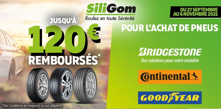120€ remboursés sur les pneus Bridgestone, Continental et Goodyear