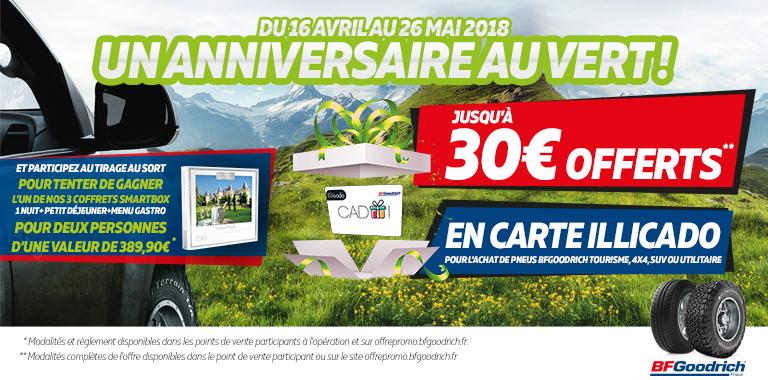 JUSQU'À 30€ OFFERTS POUR L'ACHAT DE PNEUS BFGOODRICH !
