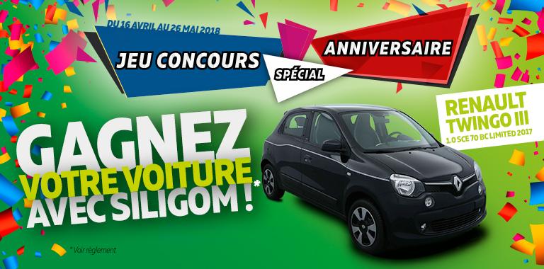 jeu concours anniversaire siligom : gagnez votre voiture renault twingo III