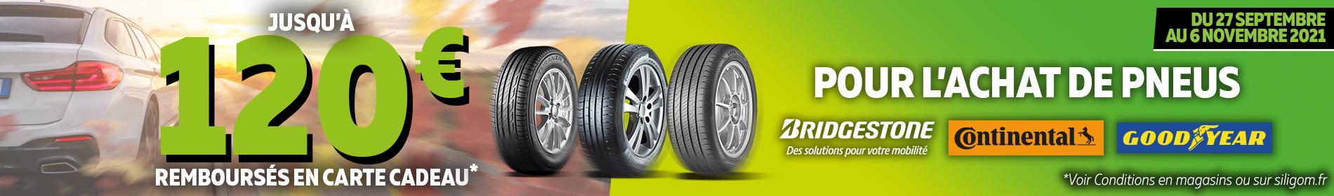 120€ remboursés sur les pneus bridgestone, continental et goodyear chez siligom