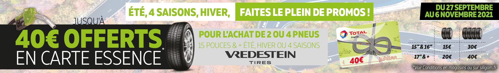 40€ offerts en carte essence sur les pneus vredestein chez siligom