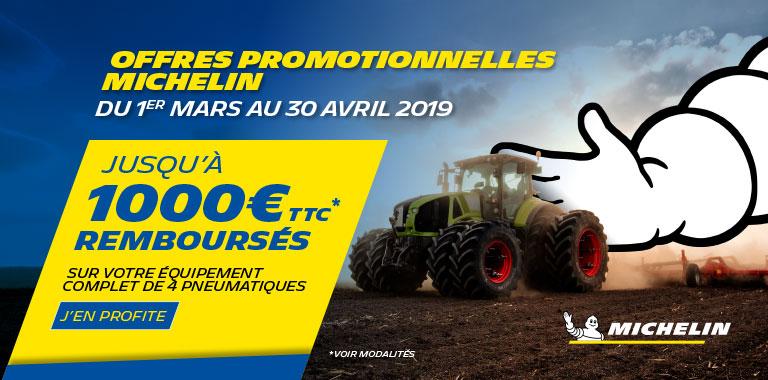 Jusqu'à 1000 € remboursés sur vos équipements pneumatiques agricoles MICHELIN