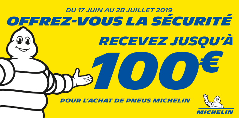 recevez jsuqu'à 100€ pour l'achat de pneus MIchelin chez Siligom
