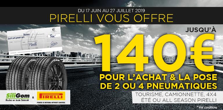 pirelli et siligom vous offre jusqu'a 140€ pour l'achat de pneus Pirelli