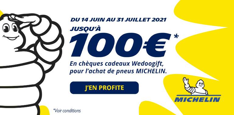 100€ remboursés sur les pneus Michelin