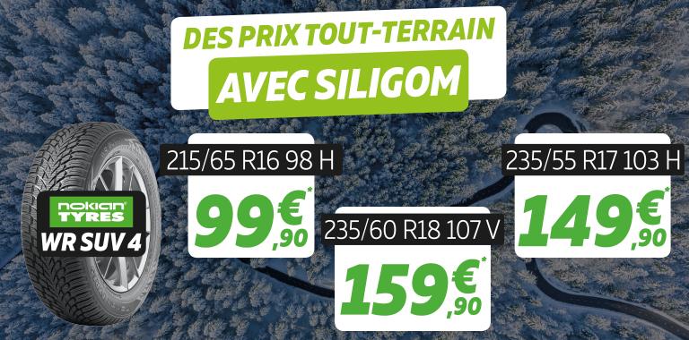 Vos pneus hiver WR SUV 4 de chez NOKIAN à partir de 99,50€ chez siligom