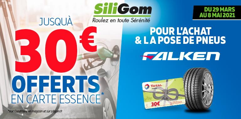 30€ offerts en carte essence pour l'achat de pneus falken