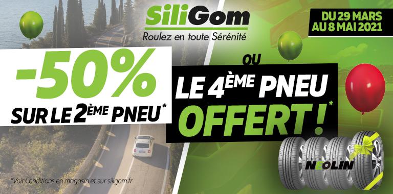 -50% sur le 2ème pneu ou le 4ème pneu offert chez SiliGom