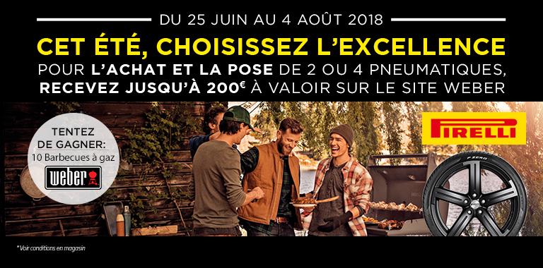 promotion pirelli chez Siligom : 200€ de bon d'achat sur le site weber.fr