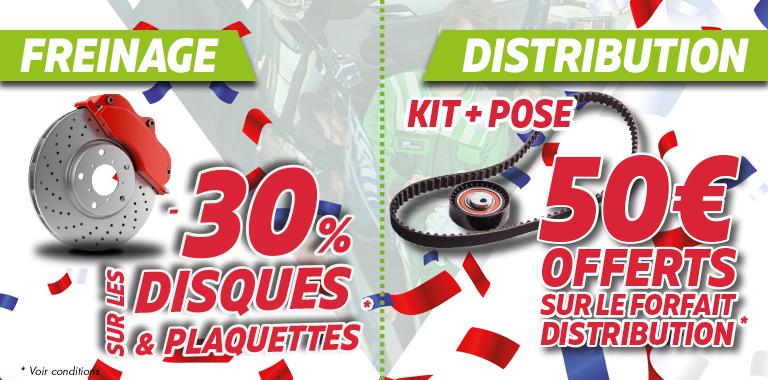 offre de l'été : 30% sur le freinage et 50€ offerts sur la distribution