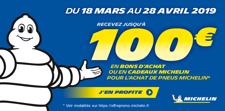 chez siligom recevez jusqu'à 100€ pour l'achat de pneus michelin