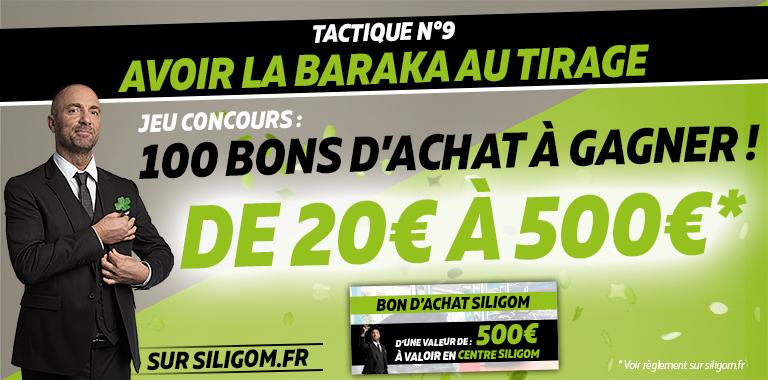 sur siligom.fr 100 bon d'achat de 20€ à 500€ à gagner