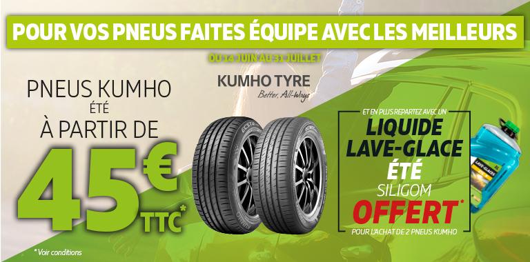 vos pneus été Kumho à partir de 45€, un bidon de liquide lave-glace offert pour l'achat de 2 pneus Kumho