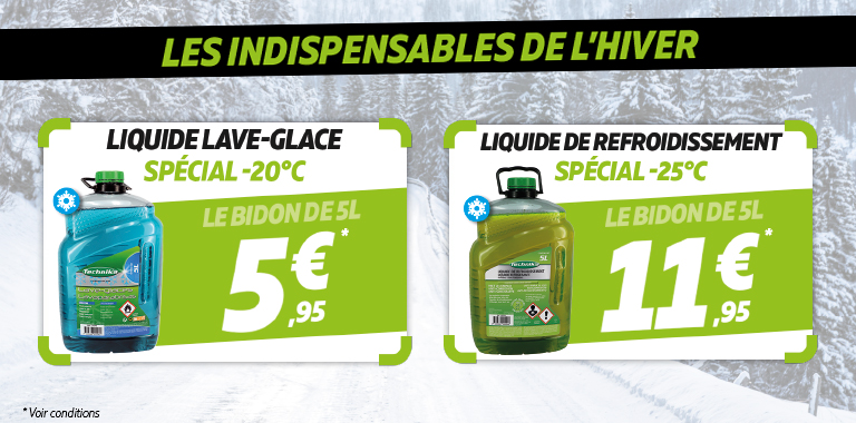 lave glace à 5,95€ liquide de refroidissement à 11,95€ chez siligom